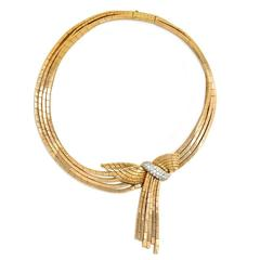 Garrard Retro Gold and Diamond Necklace with Detachable Brooch