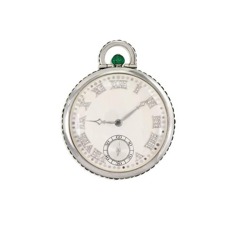 Audemars Piguet Platinum Diamond Emerald Pocket Watch 1