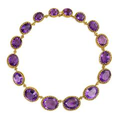 Antique  Amethyst Gold Necklace