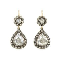 Antique Rose Diamond Pear-Shaped Cluster Earrings