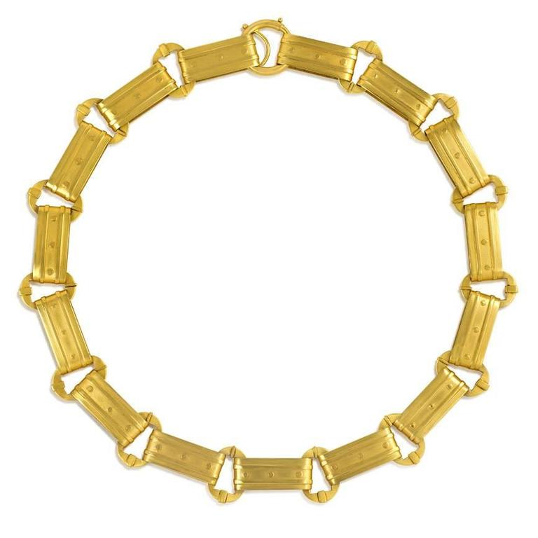 Victorian Gold Rectangular Plaque Link Necklace For Sale