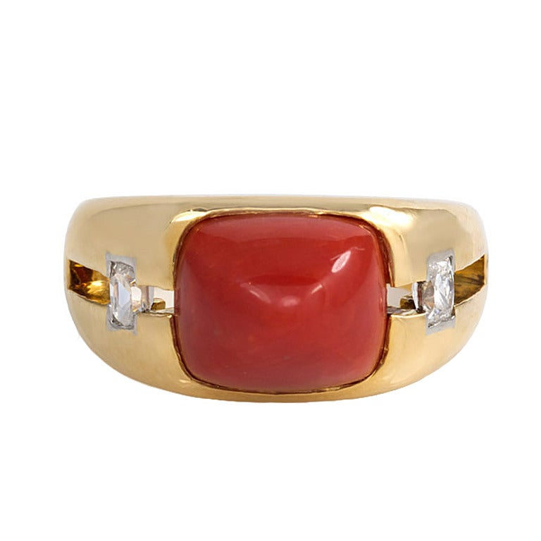 1940s Janesich Coral Diamond Gold Ring For Sale
