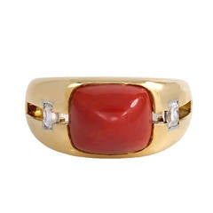 1940s Janesich Coral Diamond Gold Ring