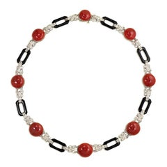 Art Deco Coral, Diamond, and Onyx Necklace