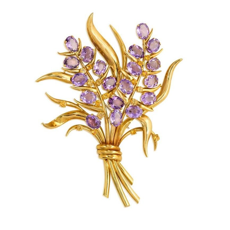 Retro Oversized Gold, Amethyst, and Citrine Floral Spray Brooch