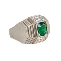 René Boivin Art Deco Emerald Diamond Platinum Ring