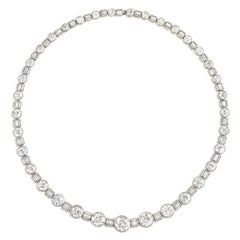 Art Deco Diamond Platinum Necklace, Wearable in Three Lengths