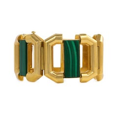 1970s Modernist Gold and Malachite Bracelet