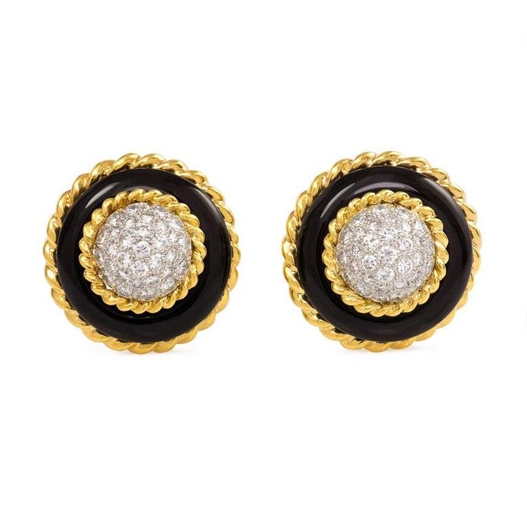Van Cleef & Arpels 1960s Onyx and Diamond Circular Clip Earrings