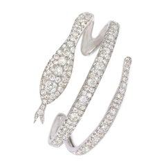 French Art Deco Diamond Coiled Serpent Bracelet