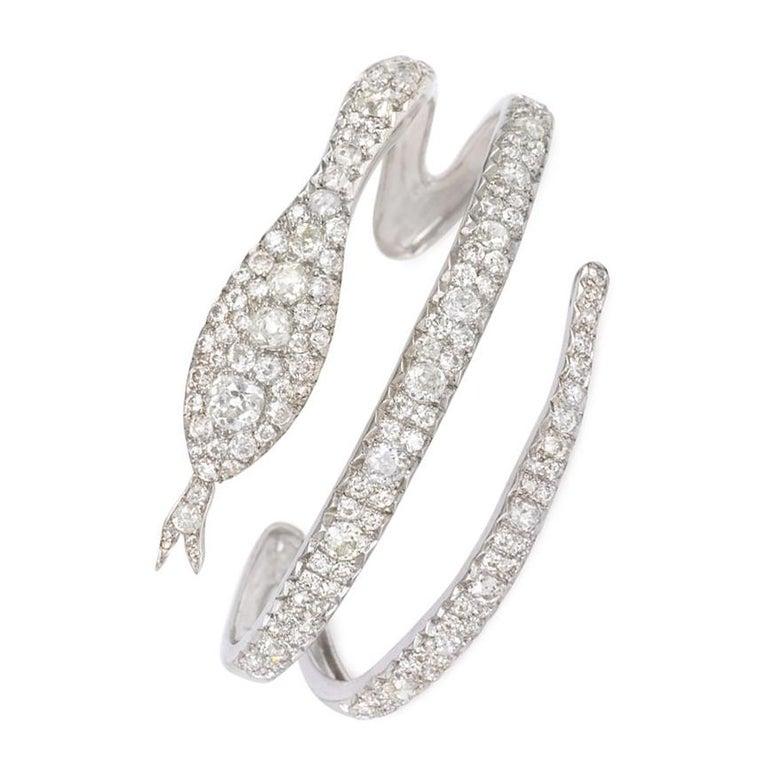 French Art Deco Diamond Coiled Serpent Bracelet For Sale