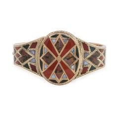 Antique Gold Scottish Agate Bangle Bracelet with Central Locket Compartment