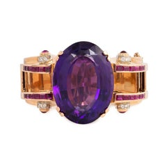 Retro Rose Gold Bracelet with Central Amethyst and Ruby and Diamond Accents