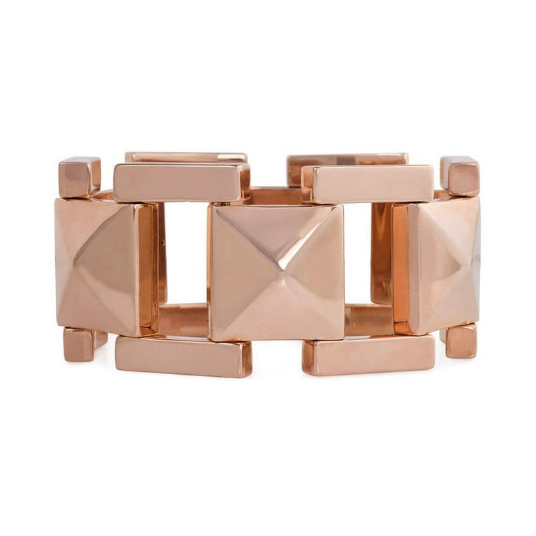 Tiffany & Co. 1940s Rose Gold Plaque Link Bracelet