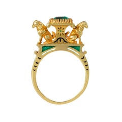 French Mid-19th Century Gold, Emerald, and Enamel Egyptian Revival Ring