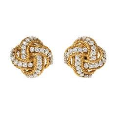 Boucheron 1960s Gold and Diamond Knot Design Clip Earrings