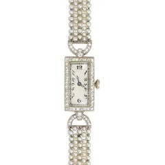Art Deco Diamond, Seed Pearl, and Onyx Dress Watch, C.H. Meylan Movement