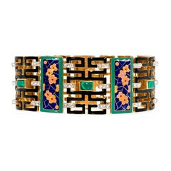 French Art Deco Chinoiserie Diamond Malachite Enamel Gold Bracelet