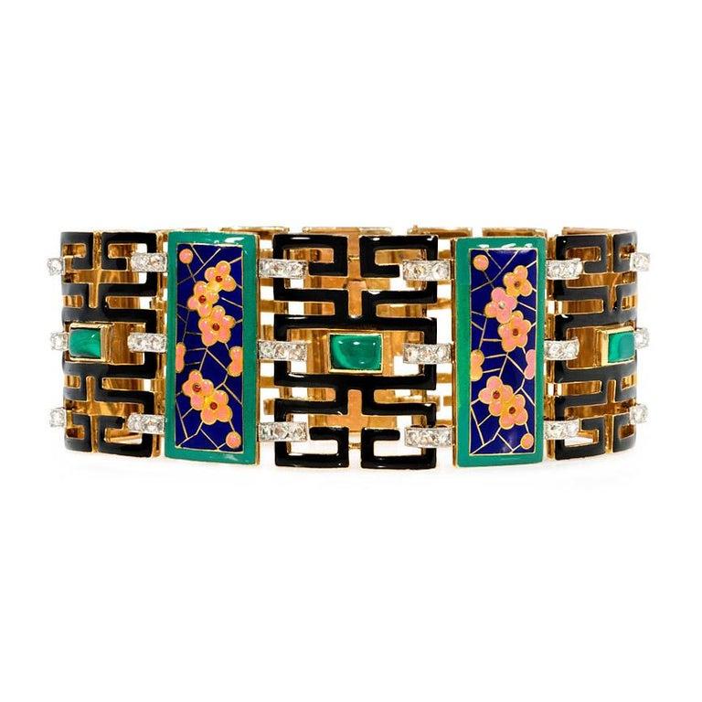 French Art Deco Chinoiserie Diamond Malachite Enamel Gold Bracelet For Sale