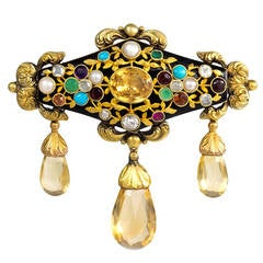 Antique Gold, Black Enamel and Multi-Gemstone Brooch with Citrine Drops