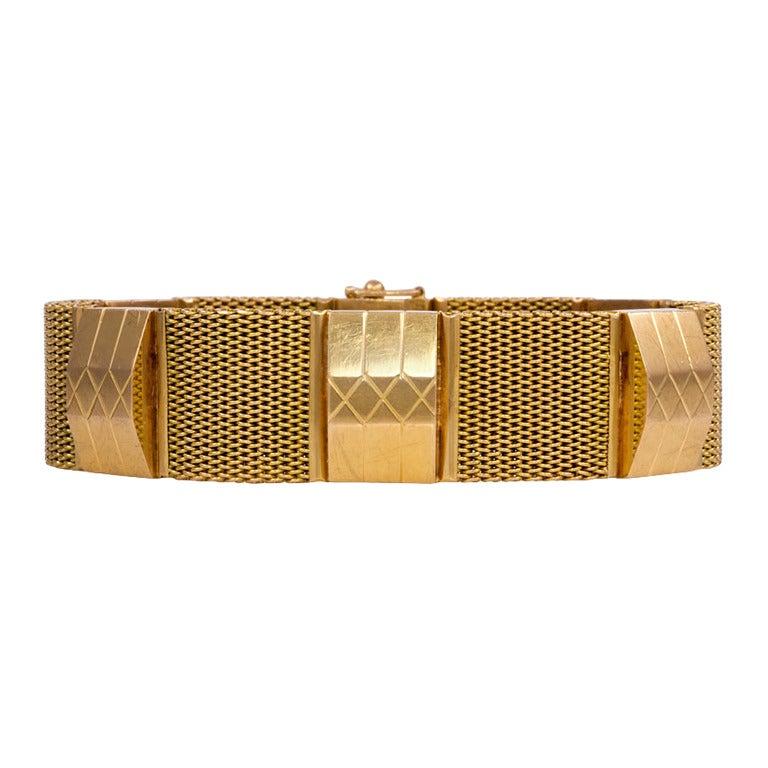 1940s Retro Gold Mesh and Link Bracelet