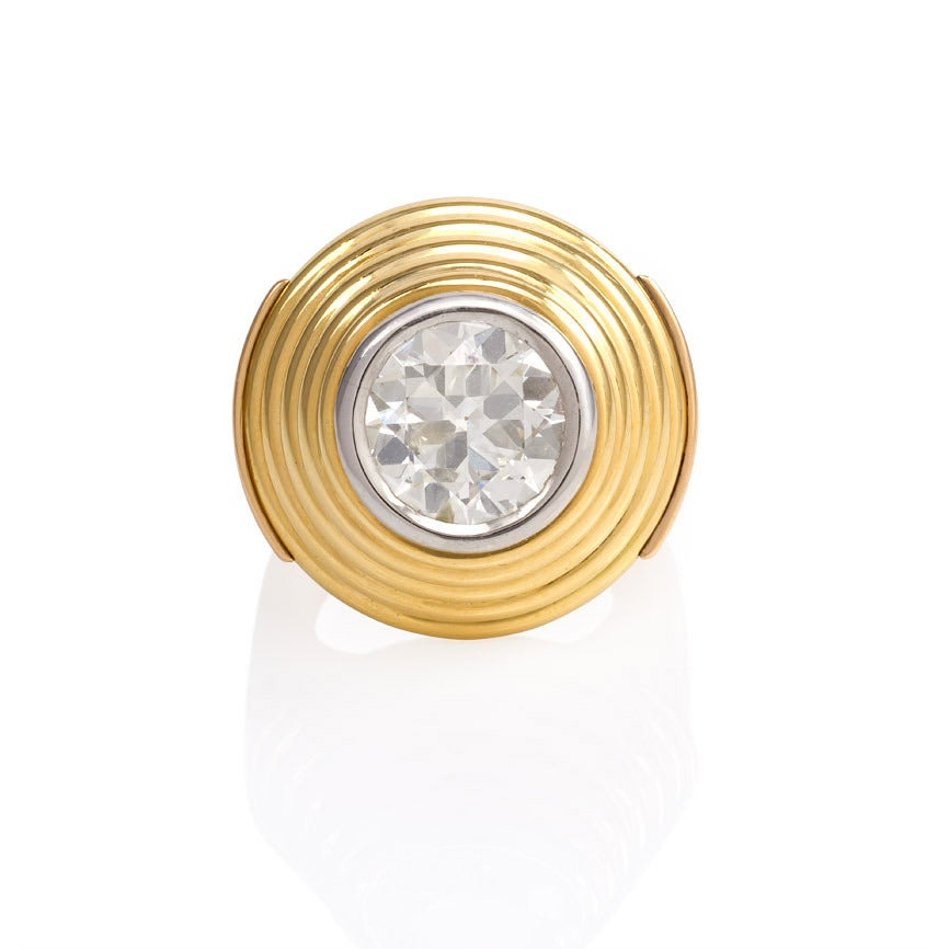 1940s French Gold And Diamond Target Ring Image 4