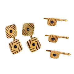 1950s Gold and Sapphire Cufflinks and Stud Set
