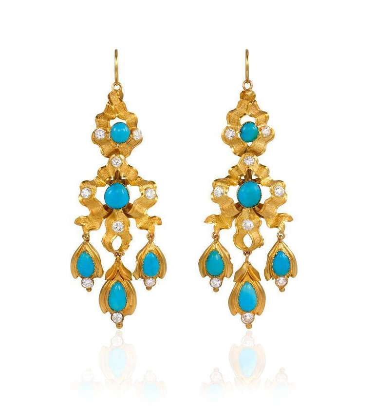 Early 19th Century Turquoise Diamond Gold Earrings At 1stdibs