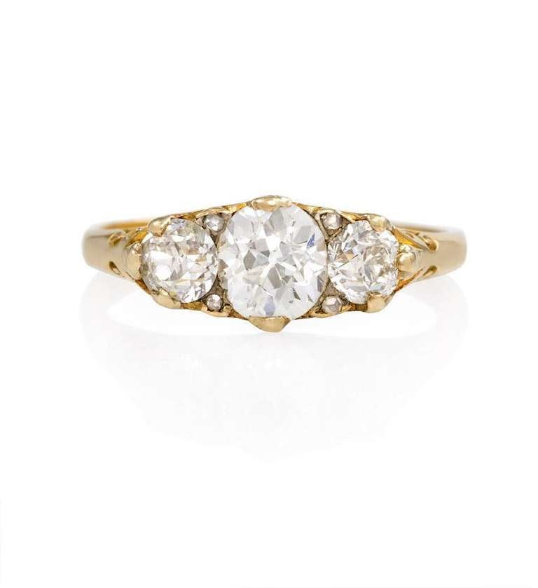 Antique Gold and Three-Stone Diamond Ring