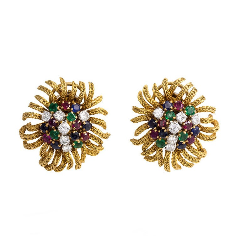 1950s French Gold and Multigemstone Earrings