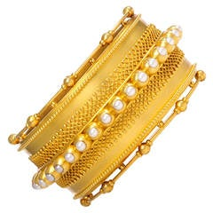 Victorian Pearl Gold Bangle Bracelet with Bead and Wirework