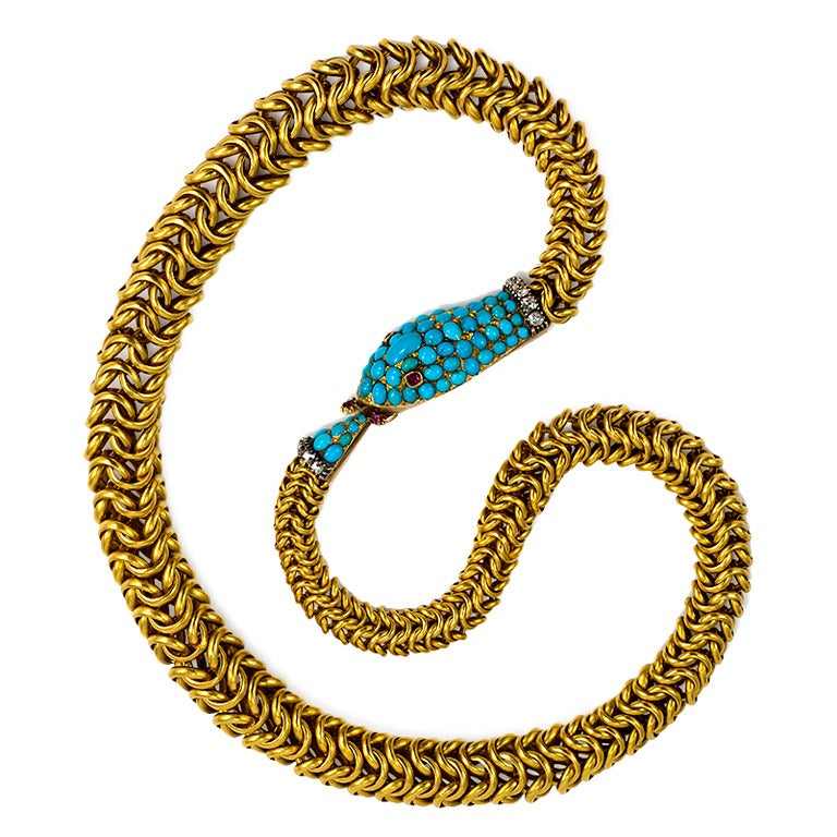 Antique Turquoise Ruby Diamond Gold Ouroboros Motif Necklace
