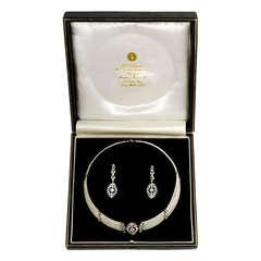 Edwardian Seed Pearl and Diamond Choker with Earrings En Suite