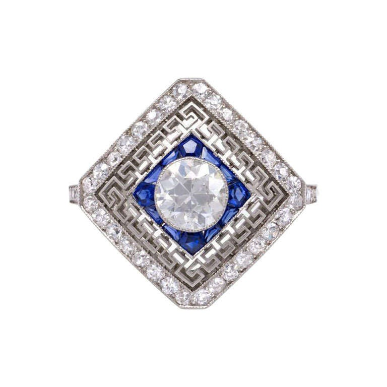 Edwardian Sapphire Diamond Ring with Greek Key Design in Platinum
