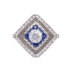 Edwardian Sapphire Diamond Ring with Greek Key Design in Platinum