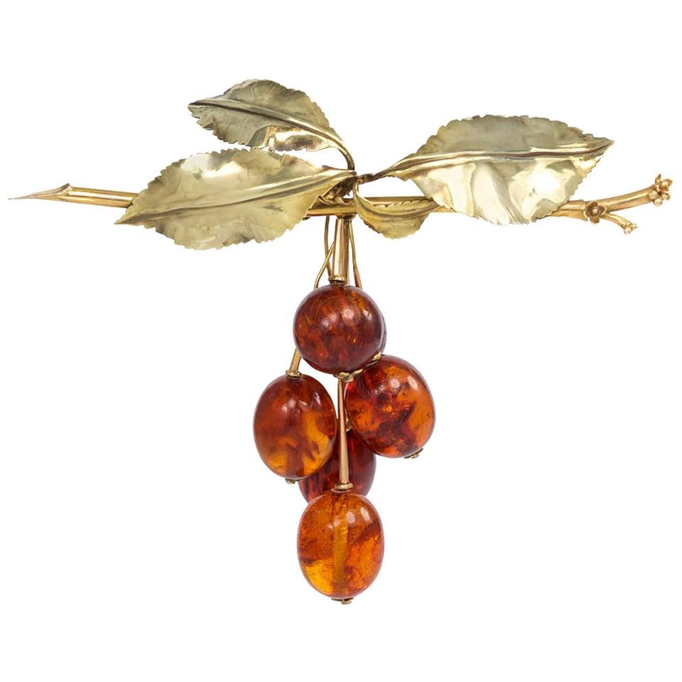 1940s Amber Gold Cherry Motif Brooch