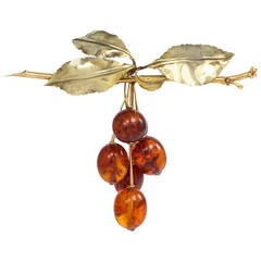 1940s Amber Gold Cherry Motif Brooch