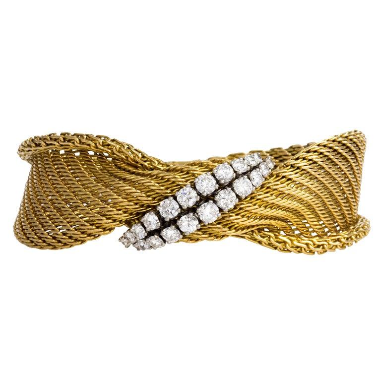 1950s French Diamond Gold Bracelet