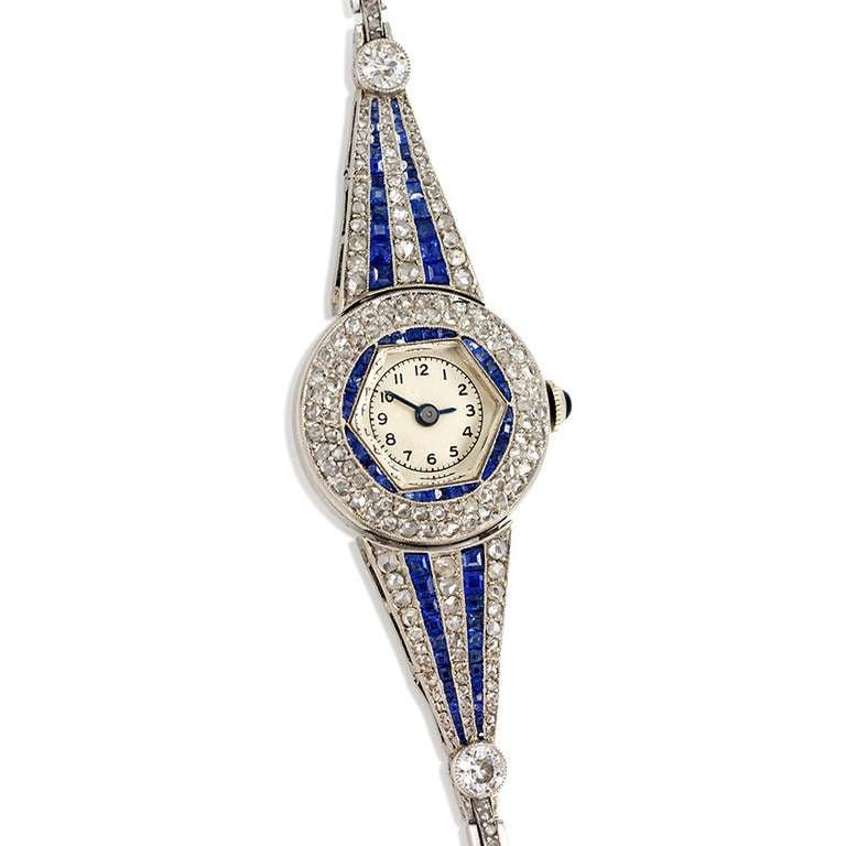 Art Deco Lady S Platinum Sapphire And Diamond Bracelet