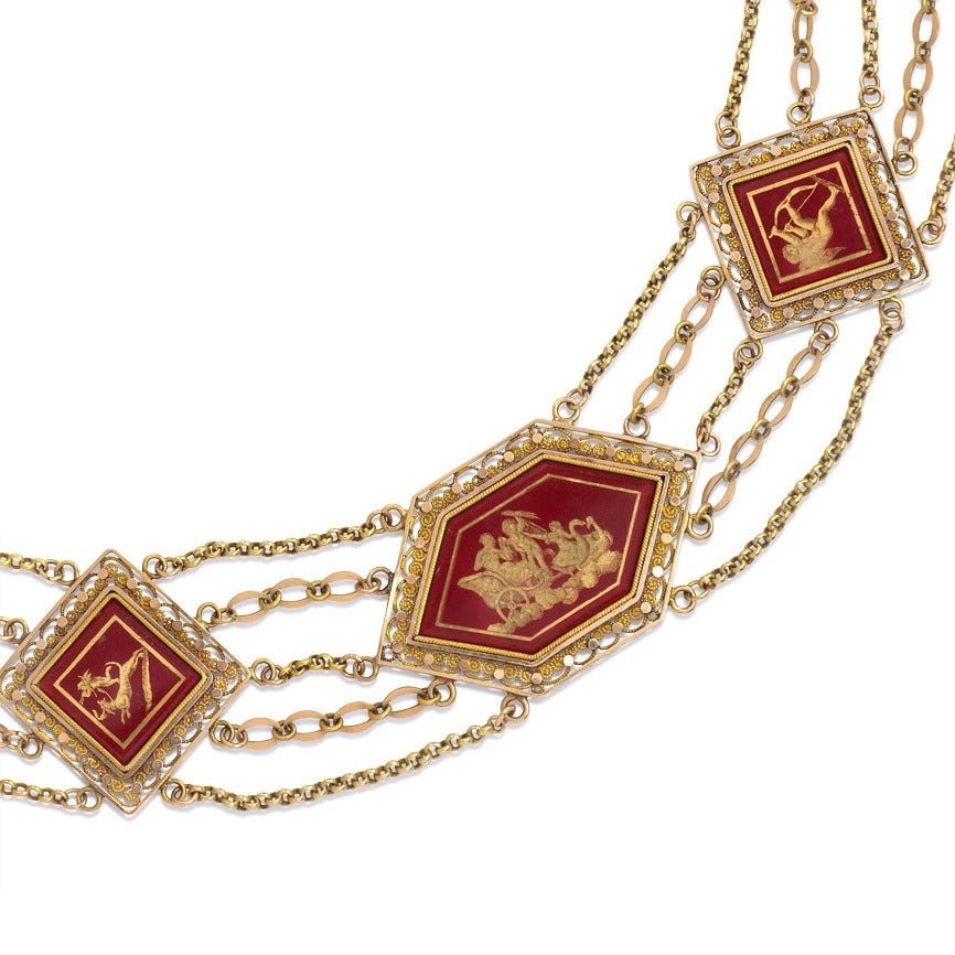 Antique Gold Festoon Necklace With Eglomis 233 Panels At 1stdibs
