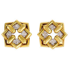 1970s Gold and Diamond Earrings