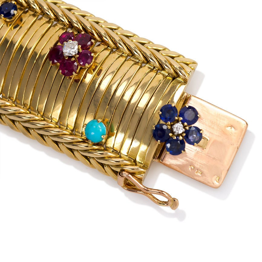 1950s Marchak Paris Gem Set Floral Gold Bracelet At 1stdibs
