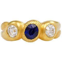 Antique Sapphire Diamond Three-Stone Gypsy Ring