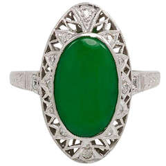 Art Deco Jade and Platinum Ring with Diamond Accents