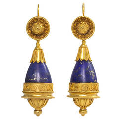 Antique Lapis Gold Etruscan Style Earrings