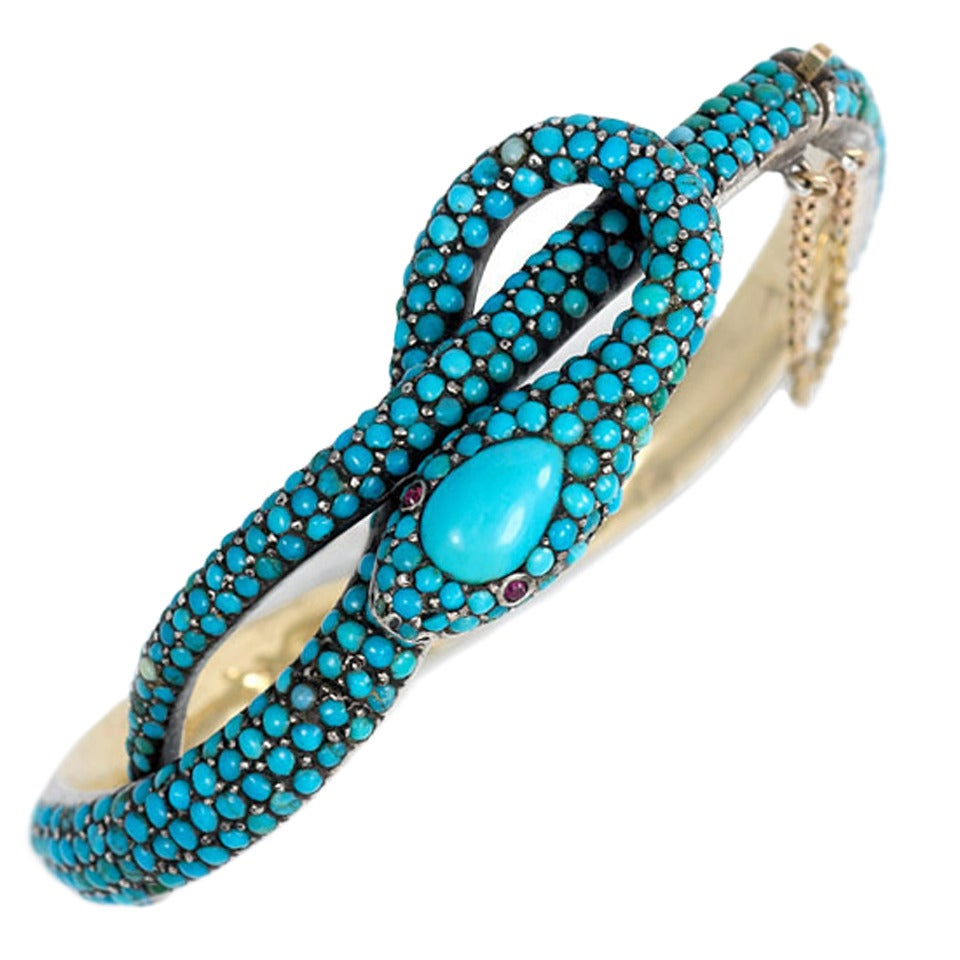 French Antique Turquoise Gold Serpent Motif Bracelet At