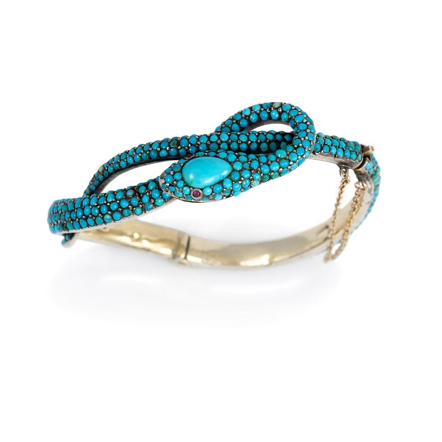French Antique Turquoise Gold Serpent Motif Bracelet 2