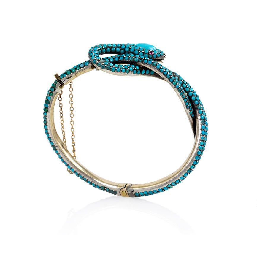 French Antique Turquoise Gold Serpent Motif Bracelet 3