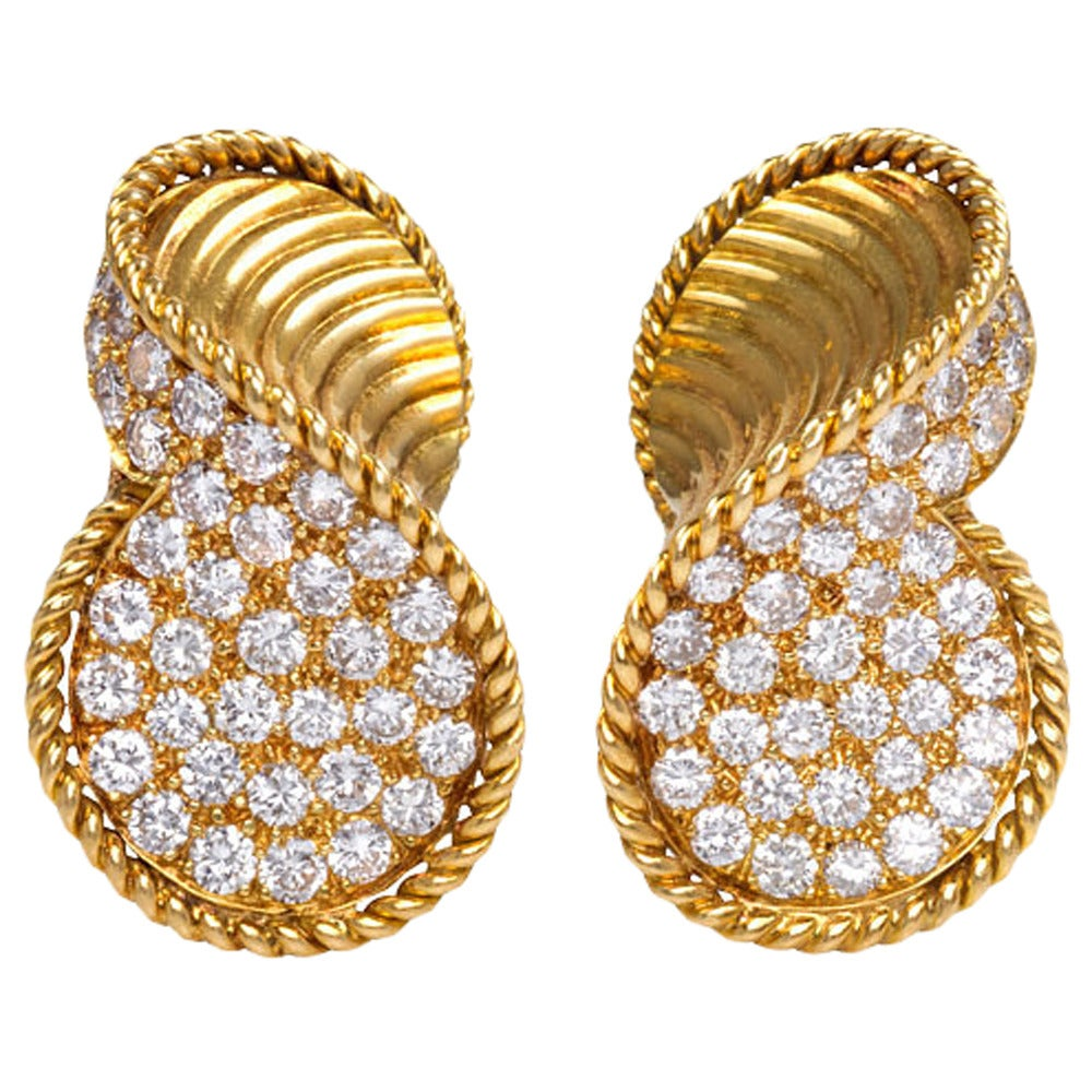 1950s Gold And Diamond Clip Earrings At 1stdibs