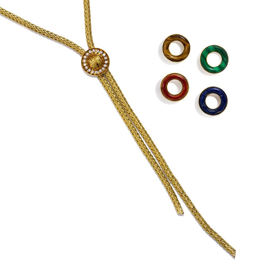 1960s French Gold Lariat Necklace With Interchangeable
